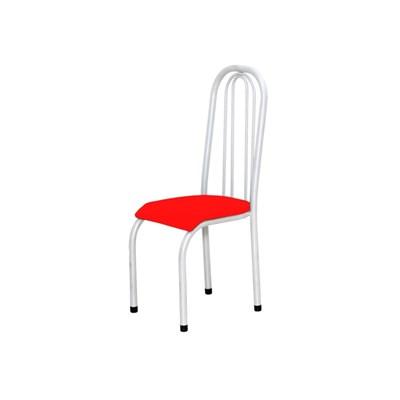 Kit 4 Cadeiras Altas 0.123 Anatômica Branco/Vermelho - Marcheli