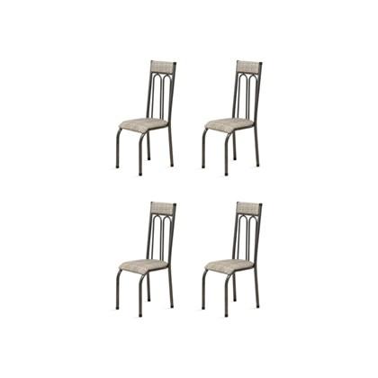 Kit 4 Cadeiras Anatômicas 0.120 Estofada Craqueado/Bege - Marcheli