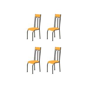 Kit 4 Cadeiras Anatômicas 0.120 Estofada Craqueado/Laranja - Marcheli