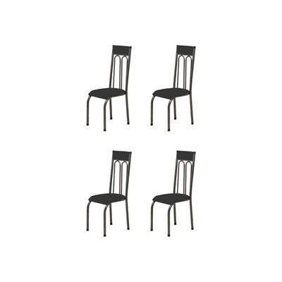 Kit 4 Cadeiras Anatômicas 0.120 Estofada Craqueado/Preto - Marcheli