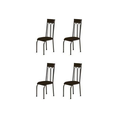 Kit 4 Cadeiras Anatômicas 0.120 Estofada Craqueado/Tabaco - Marcheli