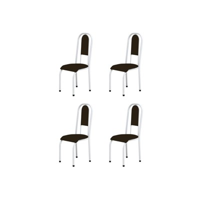 Kit 4 Cadeiras Anatômicas 0.122 Estofada Branco/Marrom Escuro - Marcheli