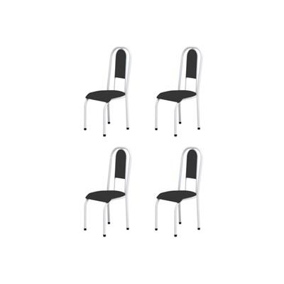 Kit 4 Cadeiras Anatômicas 0.122 Estofada Branco/Preto - Marcheli