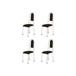 Kit 4 Cadeiras Anatômicas 0.122 Estofada Branco/Tabaco - Marcheli