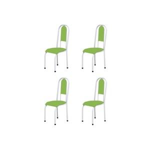 Kit 4 Cadeiras Anatômicas 0.122 Estofada Branco/Verde - Marcheli
