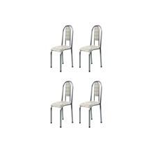Kit 4 Cadeiras Anatômicas 0.122 Estofada Cromado/Bege - Marcheli