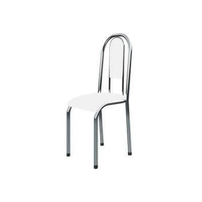 Kit 4 Cadeiras Anatômicas 0.122 Estofada Cromado/Branco - Marcheli