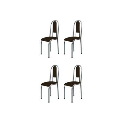 Kit 4 Cadeiras Anatômicas 0.122 Estofada Cromado/Marrom Escuro - Marcheli