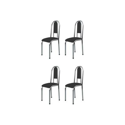 Kit 4 Cadeiras Anatômicas 0.122 Estofada Cromado/Preto - Marcheli