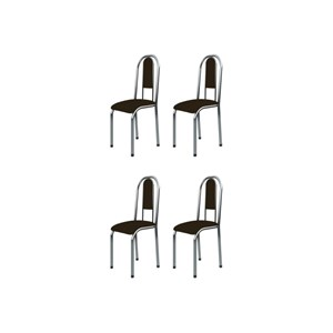 Kit 4 Cadeiras Anatômicas 0.122 Estofada Cromado/Tabaco - Marcheli