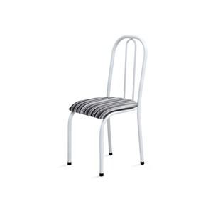 Kit 4 Cadeiras Baixas 0.104 Anatômica Branco/Listrado - Marcheli