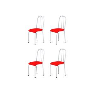 Kit 4 Cadeiras Baixas 0.104 Anatômica Branco/Vermelho - Marcheli