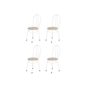 Kit 4 Cadeiras Baixas 0.134 Redonda Branco/Bege - Marcheli