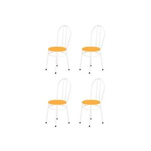 Kit 4 Cadeiras Baixas 0.134 Redonda Branco/Laranja - Marcheli