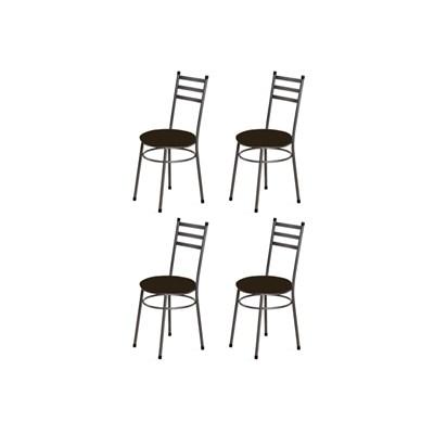 Kit 4 Cadeiras Baixas 0.135 Redonda Craqueado/Marrom Escuro - Marcheli