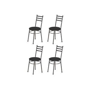 Kit 4 Cadeiras Baixas 0.135 Redonda Craqueado/Preto - Marcheli