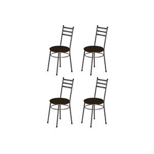 Kit 4 Cadeiras Baixas 0.135 Redonda Craqueado/Tabaco - Marcheli