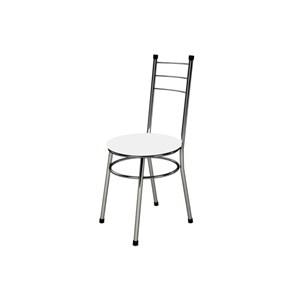 Kit 4 Cadeiras Baixas 0.236 Redonda Cromado/Branco - Marcheli