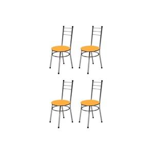 Kit 4 Cadeiras Baixas 0.236 Redonda Cromado/Laranja - Marcheli