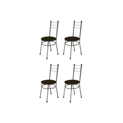 Kit 4 Cadeiras Baixas 0.236 Redonda Cromado/Marrom Escuro - Marcheli