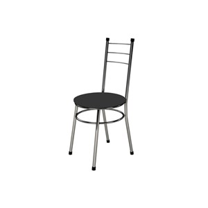 Kit 4 Cadeiras Baixas 0.236 Redonda Cromado/Preto - Marcheli