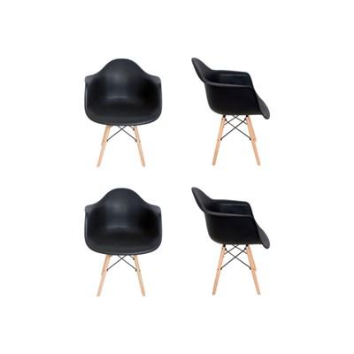 Kit 4 Cadeiras Eiffel Melbourne F01 Preta com Pés Palito em Madeira - Mpozenato