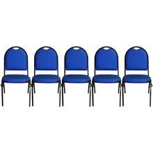 Kit 5 Cadeiras Hoteleira Auditório Hotel Empilhável Fixa Azul - Pethiflex