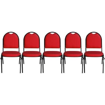 Kit 5 Cadeiras Hoteleira Auditório Hotel Empilhável Fixa Vermelha - Pethiflex