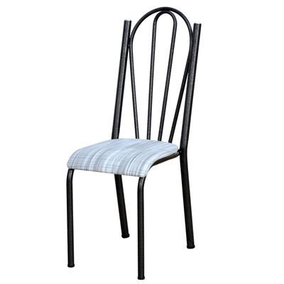 Kit 6 Cadeiras 021 América Cromo Preto/Linho - Artefamol