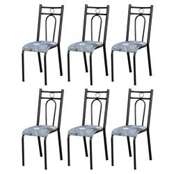 Kit 6 Cadeiras 023 América Cromo Preto/Pará - Artefamol