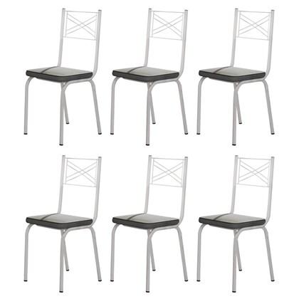 Kit 6 Cadeiras 119 Europa Branco/Platina - Artefamol