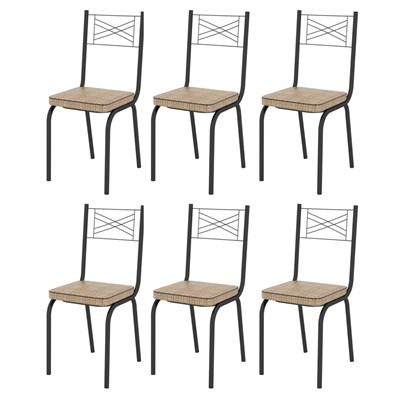Kit 6 Cadeiras 119 Europa Preto/Rattan - Artefamol
