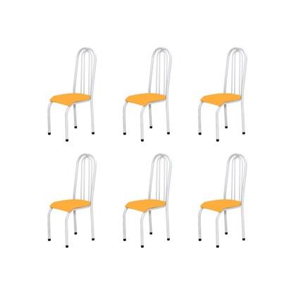 Kit 6 Cadeiras Altas 0.123 Anatômica Branco/Laranja - Marcheli