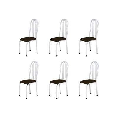 Kit 6 Cadeiras Altas 0.123 Anatômica Branco/Marrom Escuro - Marcheli