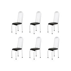 Kit 6 Cadeiras Altas 0.123 Anatômica Branco/Preto - Marcheli