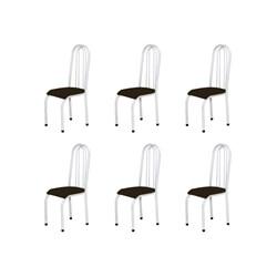 Kit 6 Cadeiras Altas 0.123 Anatômica Branco/Tabaco - Marcheli