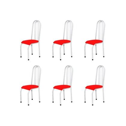 Kit 6 Cadeiras Altas 0.123 Anatômica Branco/Vermelho - Marcheli