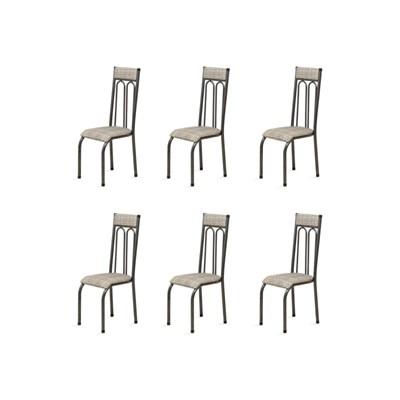 Kit 6 Cadeiras Anatômicas 0.120 Estofada Craqueado/Bege - Marcheli