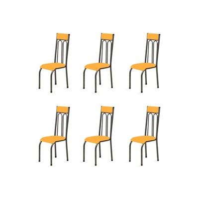 Kit 6 Cadeiras Anatômicas 0.120 Estofada Craqueado/Laranja - Marcheli