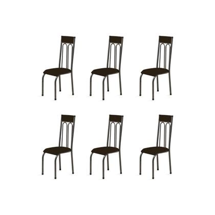 Kit 6 Cadeiras Anatômicas 0.120 Estofada Craqueado/Marrom Escuro - Marcheli