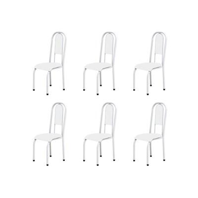 Kit 6 Cadeiras Anatômicas 0.122 Estofada Branco - Marcheli