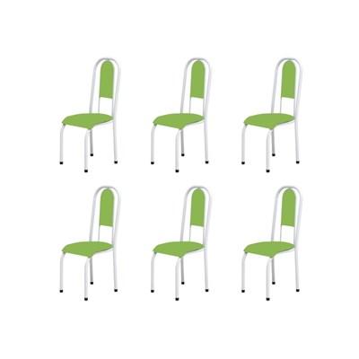 Kit 6 Cadeiras Anatômicas 0.122 Estofada Branco/Verde - Marcheli