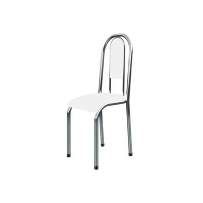 Kit 6 Cadeiras Anatômicas 0.122 Estofada Cromado/Branco - Marcheli