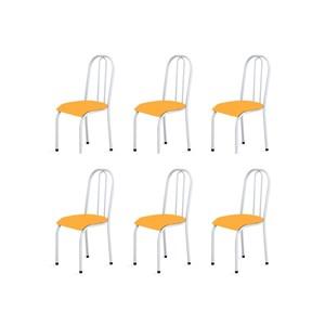 Kit 6 Cadeiras Baixas 0.104 Anatômica Branco/Laranja - Marcheli