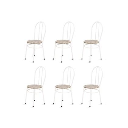 Kit 6 Cadeiras Baixas 0.134 Redonda Branco/Bege - Marcheli