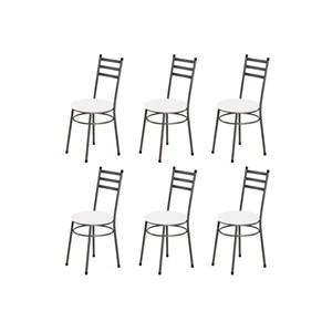 Kit 6 Cadeiras Baixas 0.135 Redonda Craqueado/Branco - Marcheli