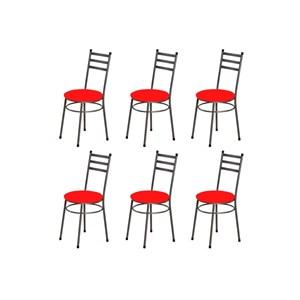 Kit 6 Cadeiras Baixas 0.135 Redonda Craqueado/Vermelho - Marcheli