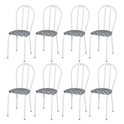 Kit 8 Cadeiras 004 Branco/Capitonê - Artefamol