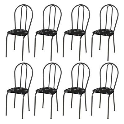 Kit 8 Cadeiras 004 Cromo Preto/Florido - Artefamol