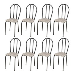 Kit 8 Cadeiras 004 Cromo Preto/Rattan - Artefamol